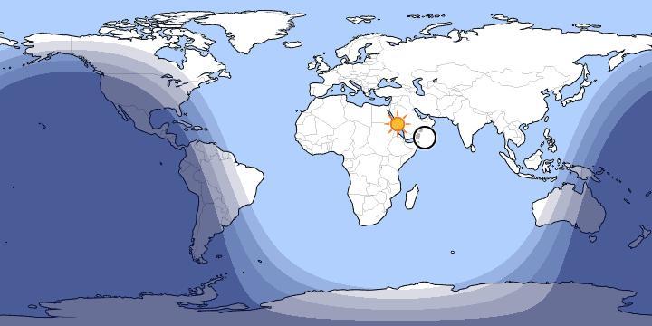 Peta Siang Saat Matahari di Atas Ka'bah.