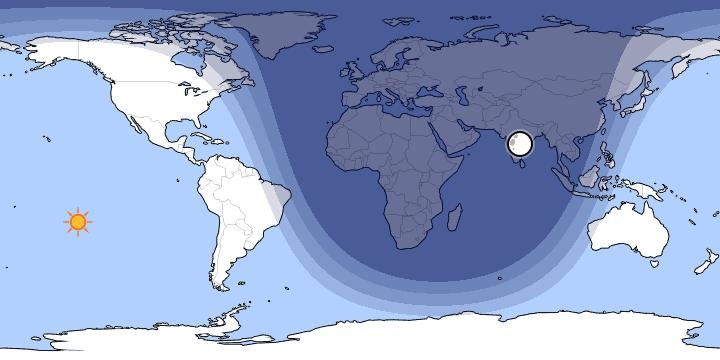 Peta Siang Saat Matahari di Bawah Ka'bah.
