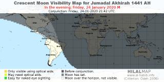 Crescent Moon Visibility Map 1441 AH - HilalMap | Alhabib