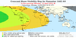 Crescent Moon Visibility Map for Ramadan 1442 AH on the evening of Monday, 12 April 2021.