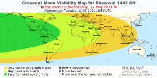 Picture: Crescent Moon Visibility Map for Shawal 1442 AH