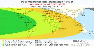 peta visibilitas hilal ramadhan 1440 H pada petang hari Ahad, 5 Mei 2019