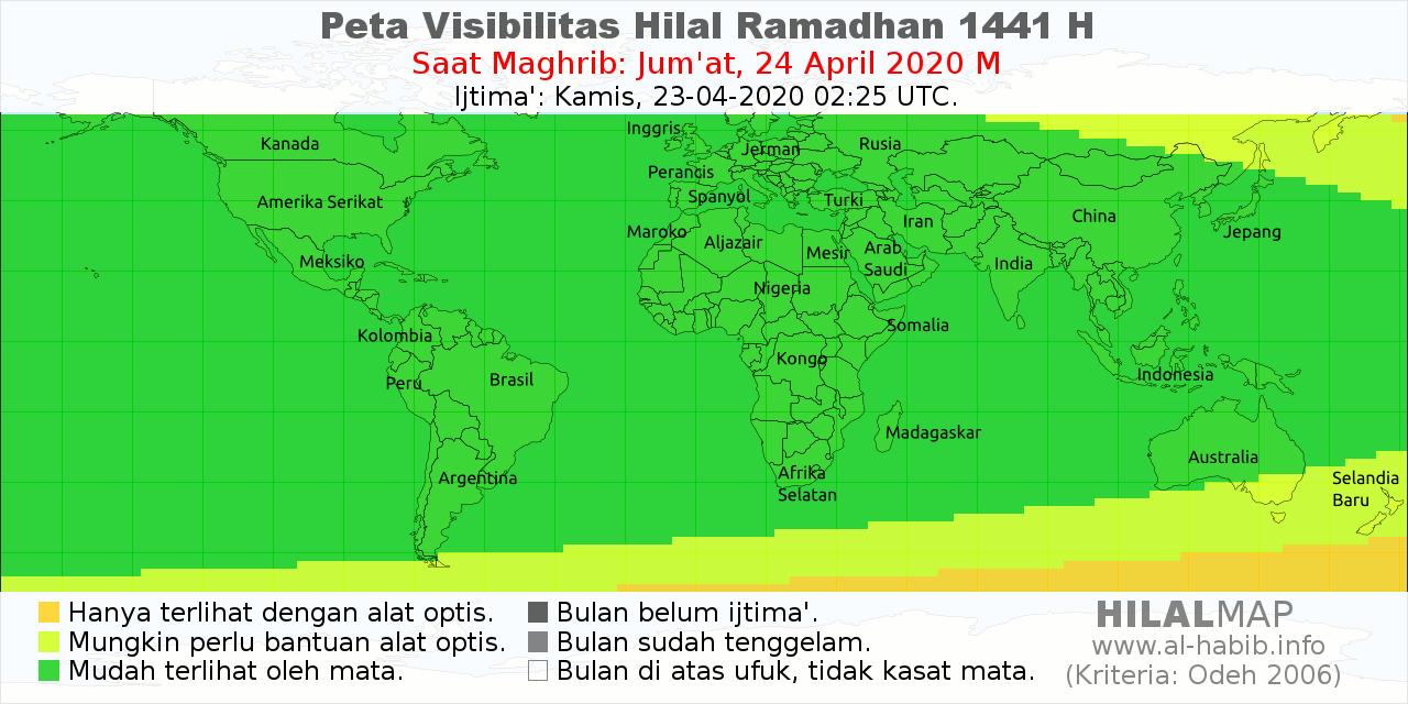 peta visibilitas hilal ramadhan 1441 H pada petang hari Jumat, 24 April 2020