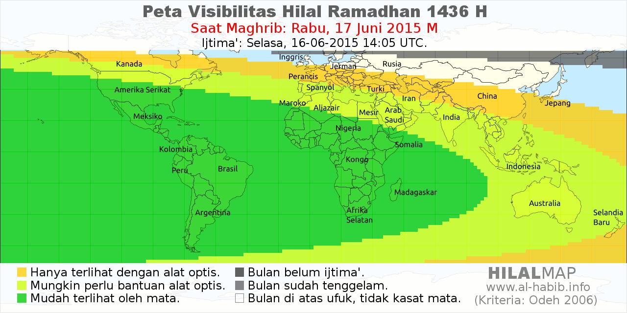 peta visibilitas hilal ramadhan 1436 H pada petang hari 17 Juni 2015