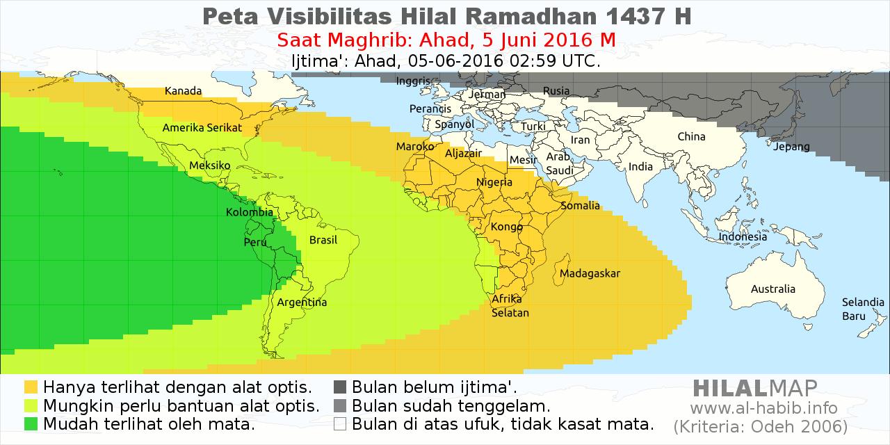 peta visibilitas hilal ramadhan 1437 H pada petang hari Ahad, 5 Juni 2016
