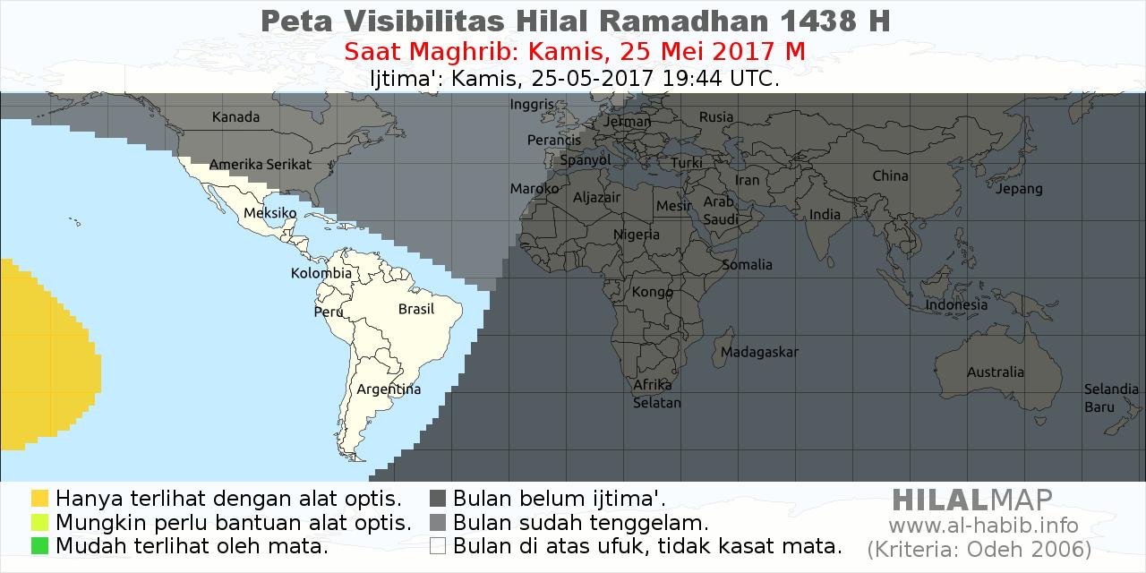 peta visibilitas hilal ramadhan 1438 H pada petang hari Jum'at, 26 Mei 2017