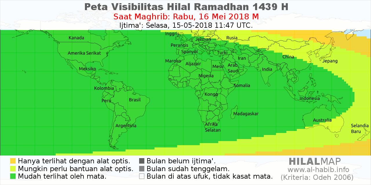 peta visibilitas hilal ramadhan 1439 H pada petang hari Rabu, 16 Mei 2018