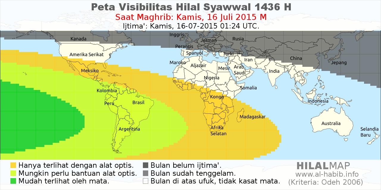 peta visibilitas hilal syawal 1436 H pada petang hari 16 Juli 2015