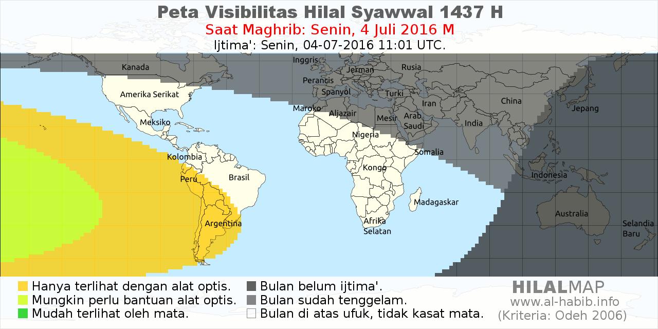 peta visibilitas hilal syawal 1437 H pada petang hari Selasa, 5 Juli 2016