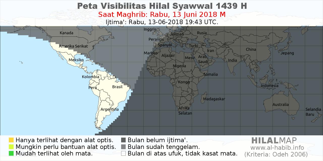 peta visibilitas hilal syawal 1438 H pada petang hari Sabtu, 24 Juni 2017