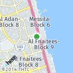 Map for location: Al Fnaitees-Block 1, Kuwait