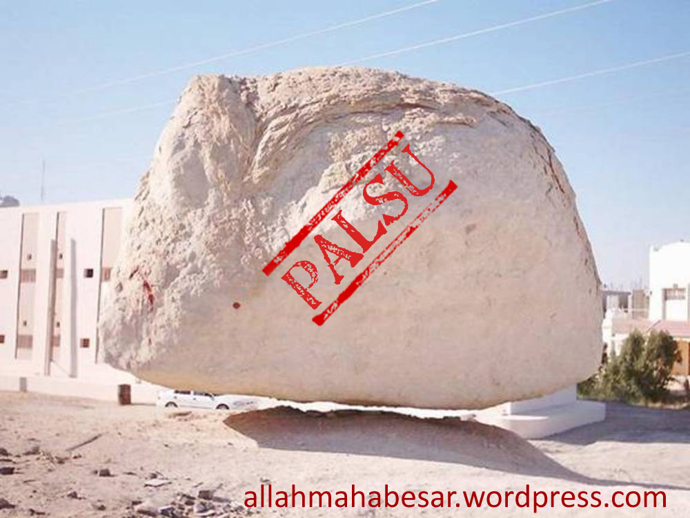 Flying Rock or Floating Rock, this is widely spread picture of the rock dubbed as miracle of Allah. It is said that the rock wanted to follow the Prophet Muhammad ascending to heaven in the event of Israk Mikraj in Jerusalem.